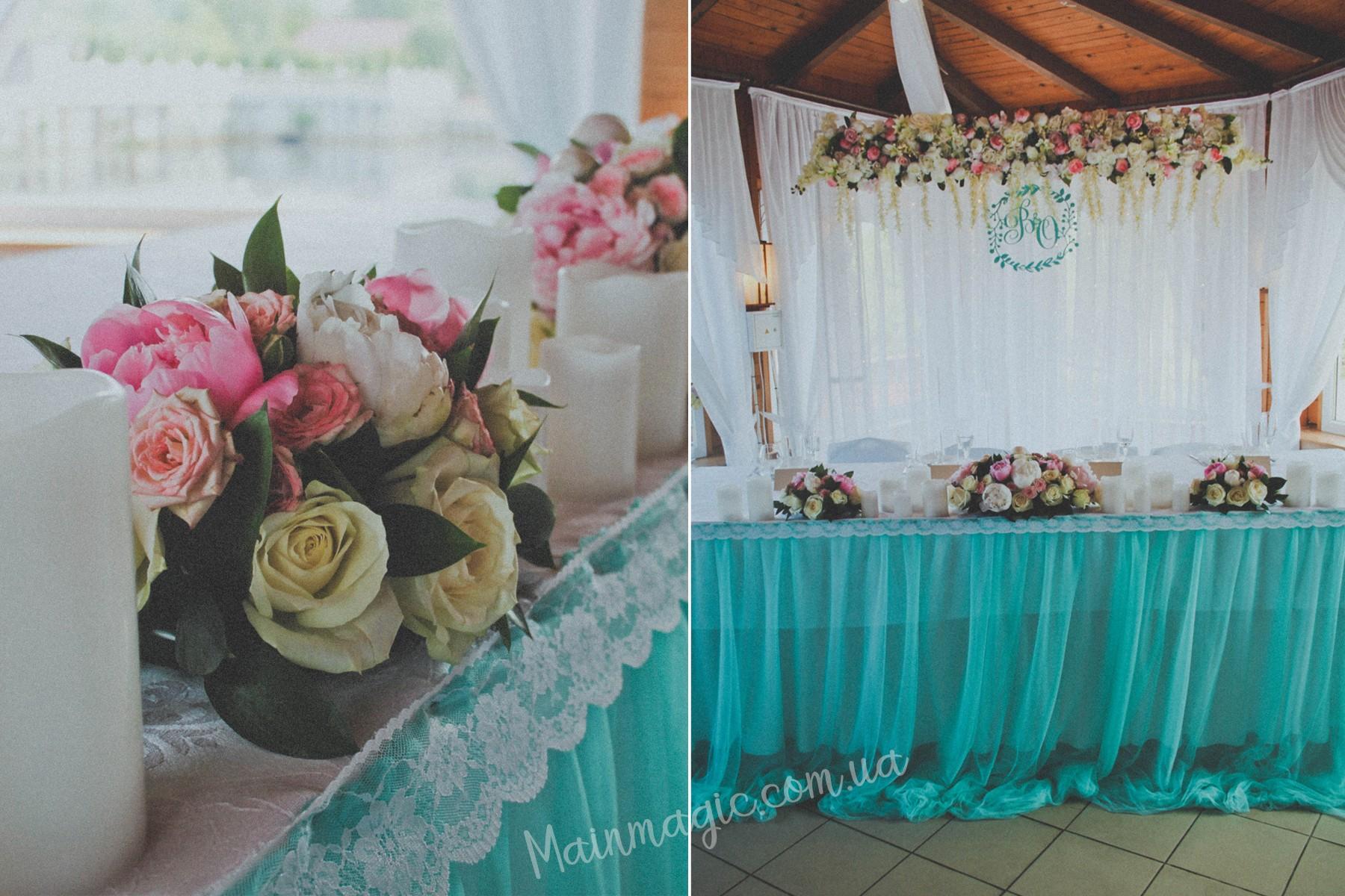 Мятная свадьбы с нежными пионами