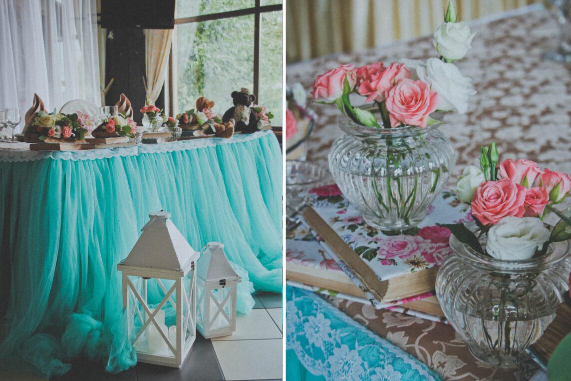Книжная свадьба в мятном цвете
